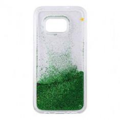 Carcasa Tellur pentru Samsung Galaxy S7 Edge cu Lichid si Sclipici Verde