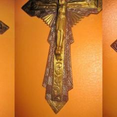 Crucifix stil gotic bronz vechi mesaj avez pitie de nous.