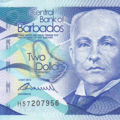 Bancnota Barbados 2 Dolari 2013 - P73 UNC - bancnota america