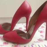 Pantofi cu toc stiletto din piele roz 36