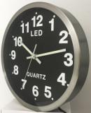 Ceas De Perete, Quartz, Cifre Iluminate Cu LED-Uri, Diam. 250 Mm