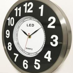 Ceas De Perete, Quartz, Cifre Iluminate Cu LED-Uri, Diam. 300 Mm