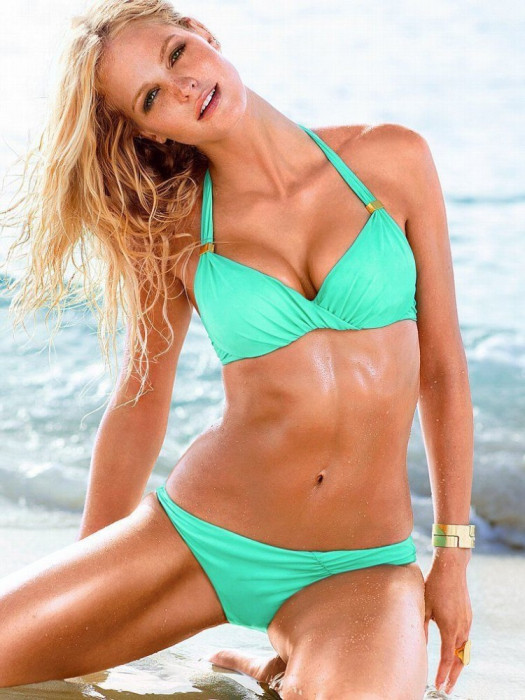 Costum de baie bleu/verde cu push up