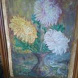 Vand schimb tablou super crizanteme semnat.2+1 GRATIS - Pictor roman, An: 1973, Flori, Ulei, Realism