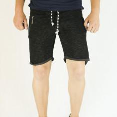 Pantaloni scurti barbati - de trening - negri - simpli - bermude barbati sport, Marime: L, XL, Culoare: Negru, Bumbac