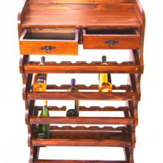 Raft lemn 30 sticle cu roti - Suport sticla vin