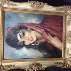 Pictura / tablou Tiganca, ulei pe panza, anii'30 - Pictor strain, Portrete, Altul