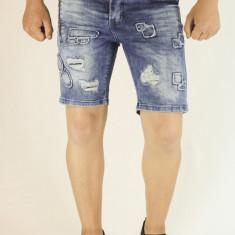 Blugi scurti barbati albastri taiati rupti bermude barbati pantaloni scurti, Marime: 31, Culoare: Albastru, Bumbac