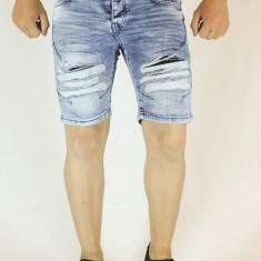 Blugi scurti barbati bleu taiati rupti bermude barbati pantaloni scurti slim fit, Marime: 32, 34, 36, Bumbac