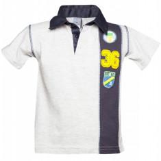 Tricou polo bumbac World Champ Little Rebels, pentru baieti, Gri/Bleumarin