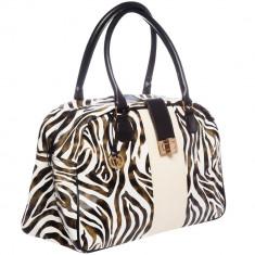 Geanta Zebra Print Puur Collection, piele ecologica, Negru/Alb/Crem, pentru femei