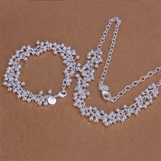 Set bijuterii placat argint 925 colier si bratara - Set bijuterii argint