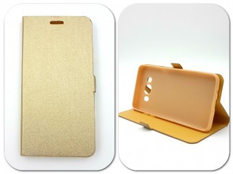 Husa FlipCover Stand Magnet LG K10 GOLD foto mare