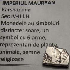 Karshapana sec IV-II i.H. imp. Mauryan - Moneda Antica, Asia