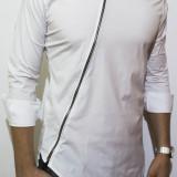 Camasa asimetrica slim fit - camasa cu fermoar camasa slim fit camasa neagra
