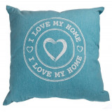 Perna decorativa I love my home - albastru, 40 x 40 cm, Radar 190242