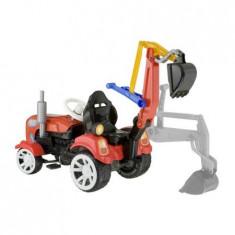 Tractor cu pedale cu excavator si remorca