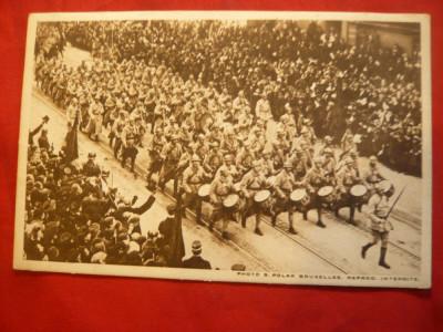 Ilustrata - Fanfara Armatei Franceze la Bruxelles - WWI foto