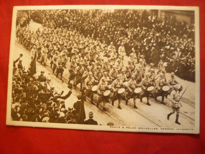 Ilustrata - Fanfara Armatei Franceze la Bruxelles - WWI foto mare