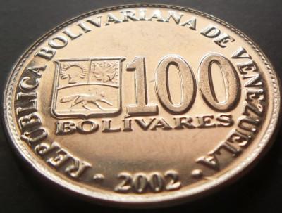 Moneda 100 Bolivares - VENEZUELA, anul 2002 *cod 142 a.UNC foto