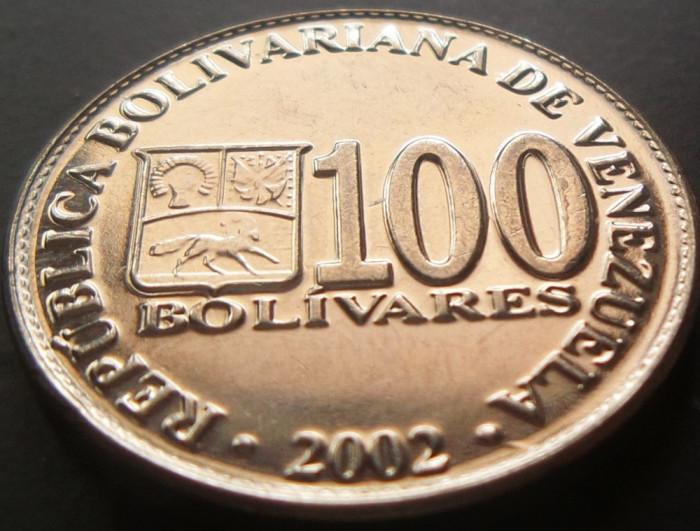 Moneda 100 Bolivares - VENEZUELA, anul 2002 *cod 142 a.UNC foto mare