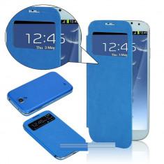 Husa toc flip S View Samsung Galaxy S4 i9500 i9505 blue albastra