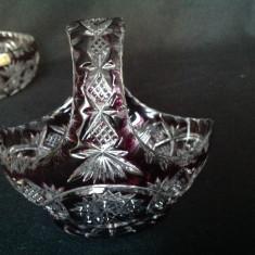 Cosulet vintage din cristal colorat - Fructiera sticla