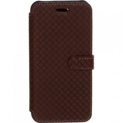 Husa Flip Cover Tellur Cross piele pentru iPhone 5/5S/SE Maro foto