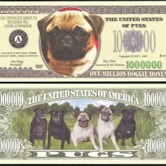 !!! SUA = FANTASY NOTE = MOPS, PUG DOG - 2011 - UNC / SERIA CAINI, WOOF - bancnota america