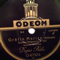 KALMAN - COUNTESS MARIZA (ODEON/GERMANY) - DISC PATEFON/GRAMOFON/Stare F.Buna - Muzica Clasica, Alte tipuri suport muzica