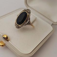 Inel din aur si argint cu safir - Inel aur, Carataj aur: Nespecificat, Culoare: Galben