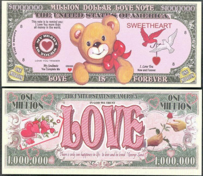 !!!  SUA = FANTASY NOTE =   MILLION  DOLLAR  LOVE  - 2012 - UNC foto
