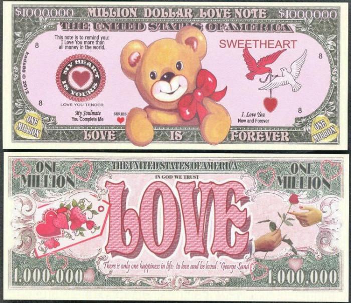 !!!  SUA = FANTASY NOTE =   MILLION  DOLLAR  LOVE  - 2012 - UNC