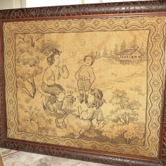 Goblen foarte vechi lucrat integral manual perioada anilor 1900 - Tapiterie Goblen