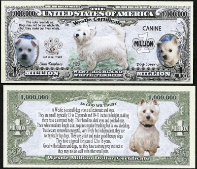 !!! SUA = FANTASY NOTE =  WESTIE TERRIER  - 2016 - UNC / SERIA DOG LOVER foto