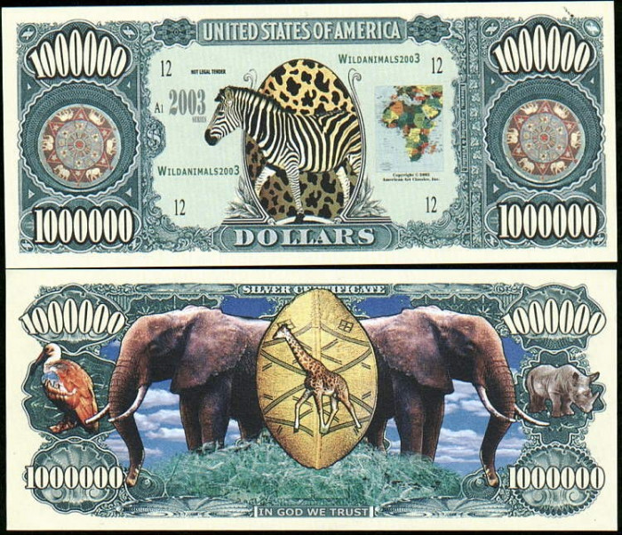 SUA = FANTASY NOTES  =  SAFARI  - 2003  - UNC foto mare
