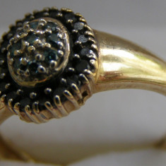 Inel 14k cu diamante negre si verzi - Inel diamant, Culoare: Galben