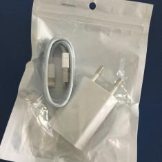Incarcator Iphone 6 sau Ipad (8 pin) + Cablu de date alb. ORIGINAL! - Incarcator telefon iPhone, De priza