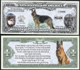 SUA = FANTASY NOTE = CAINE LUP , GERMAN SHEPHERD  - 2016 - UNC / SERIA DOG LOVER