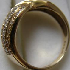 Inel aur 14 ct. cu diamante model impletit - Inel diamant, Carataj aur: 14k, Culoare: Galben