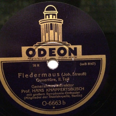 J.STRAUSS - FLEDERMAUS - OUVERTURE (ODEON/GERMANY) - DISC PATEFON/GRAMOFON - Muzica Clasica emi records, Alte tipuri suport muzica