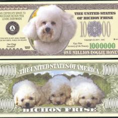 !!! SUA = FANTASY NOTE = BICHON FRISE - 2011 - UNC / SERIA CAINI, WOOF - bancnota america