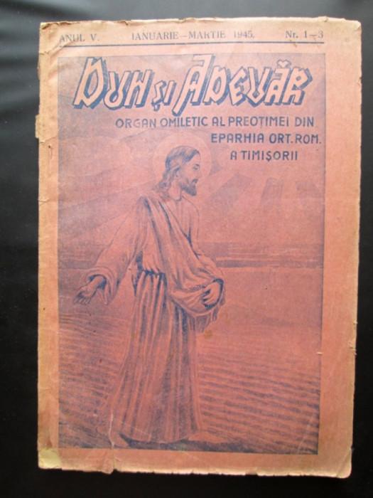 Carte veche cu tematica religioasa: Duh si Adevar, Nr. 1-3 / Timisoara 1945