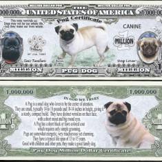 !!! SUA = FANTASY NOTE = MOPS, PUG DOG - 2016 - UNC / SERIA DOG LOVER - bancnota america