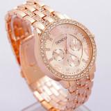 Ceas dama Geneva roz incrustat cu cristale, Fashion, Quartz, Otel, Analog