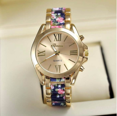 NOU Ceas dama metalic auriu elegant curea imprimeu floral bleumarin roz GENEVA foto