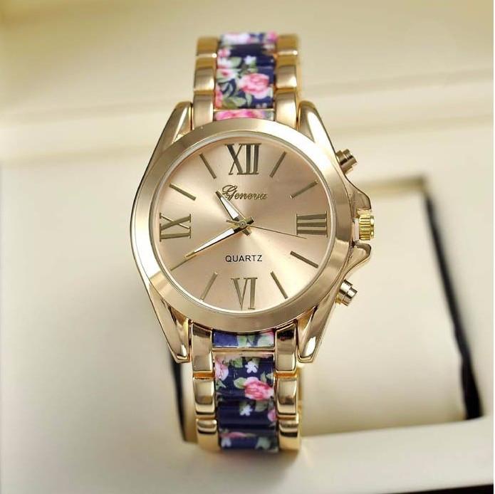 NOU Ceas dama metalic auriu elegant curea imprimeu floral bleumarin roz GENEVA