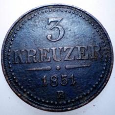 F.606 AUSTRIA 3 KREUZER 1851 B, Europa, Cupru (arama)