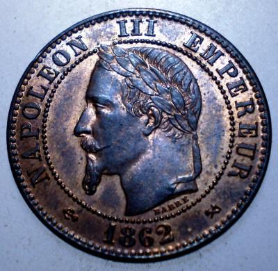 F.239 FRANTA NAPOLEON III 2 CENTIMES 1862 K AUNC foto
