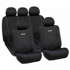 Huse Scaune Auto Dacia 1400 Sport Momo Negru-Gri 11 Bucati